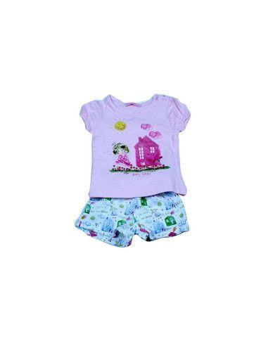 Comprar ropa bebe Conjunto corto short dibujo bebé niña