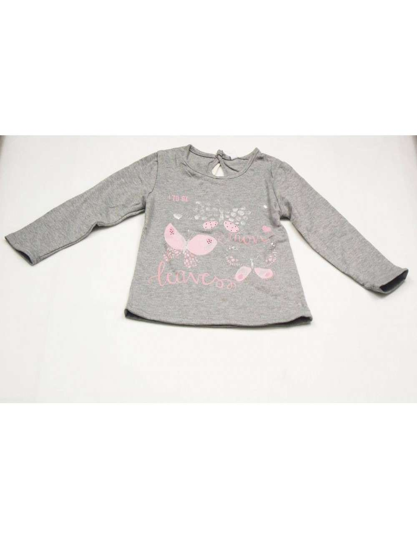 Ropa para bebe Camiseta manga larga gris bebé niña