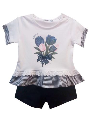 Ropa para bebe Conjunto camiseta flor y shorts bebé niña