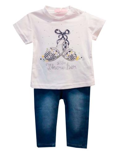 Comprar ropa bebe Conjunto camiseta zapatos bebé niña