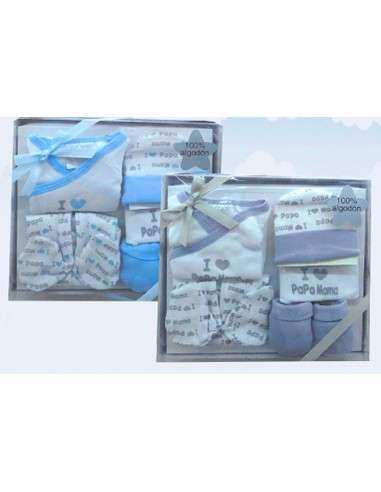 Comprar ropa bebe Caja regalo azul primera puesta
