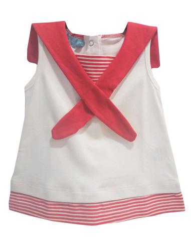 Ropa para bebe Vestido marinero rojo bebé niña