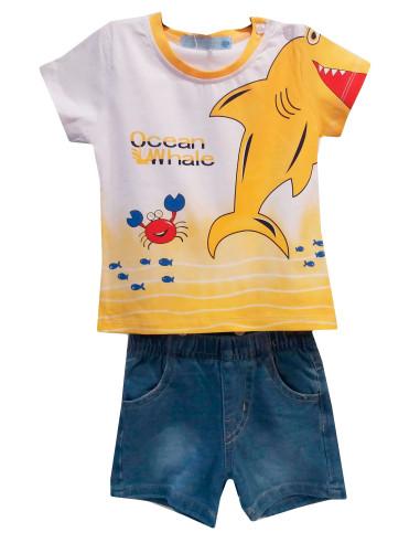 Ropa para bebe Conjunto tiburón y bermuda denim bebé niño