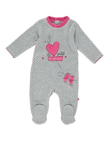Ropa para bebe Pijama largo tundosado corazón rosa bebé niña