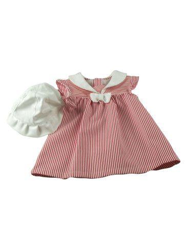 Comprar ropa bebe Vestido rayas con gorro bebé niña