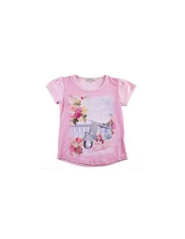 Ropa para bebe Camiseta manga corta bici strass niña