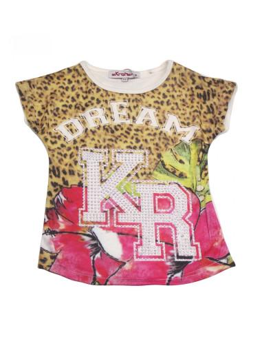 Ropa para bebe Camiseta manga corta leopardo niña