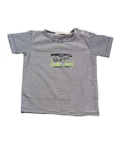 Ropa para bebe Camiseta manga corta rayas finas bebé niño