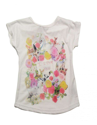 Ropa para bebe Camiseta manga corta flores niña