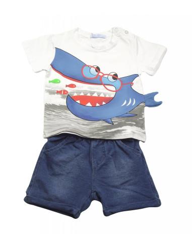 Ropa para bebe Conjunto de camiseta tiburón y bermudas bebé niño