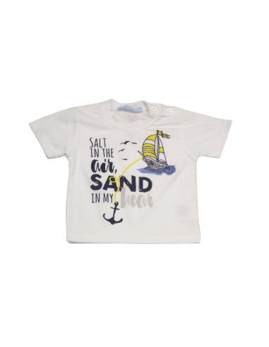 Ropa para bebe Camiseta manga corta barquito bebe niño